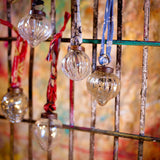 Dew Drop Silver and Clear Ribbed Glass Christmas Baubles by Nkuku on Oates & Co.