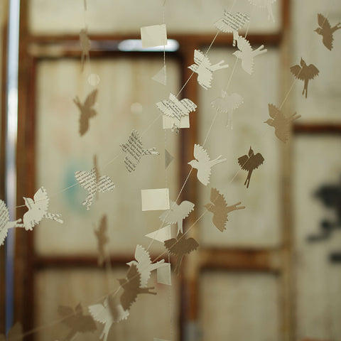 Cream Paper Bird Bunting by Nkuku