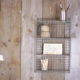 Nkuku small distressed grey wire locker room shelf on Oates & Co.