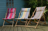 Recovered vintage deck chairs in a multicolour fabric design by Amanda Hamilton on Oates & Co.
