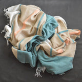 Turquoise and fawn merino wool Ocean Kikoie blanket by Otago on Oates & Co.