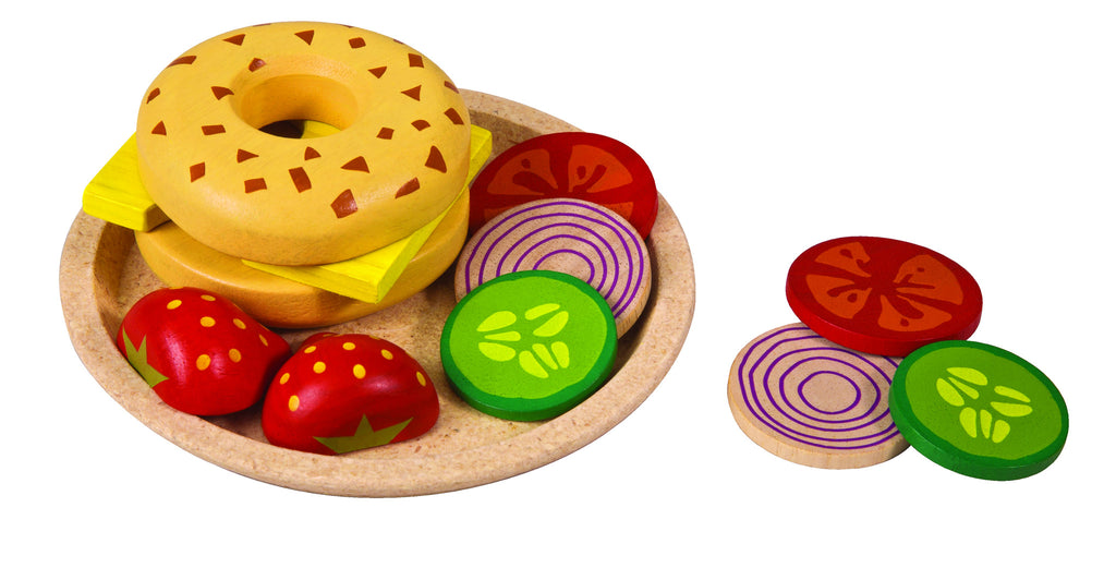 Wooden bagel pretend play set for children age 3 and up on Oates & Co.