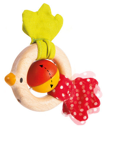 Wooden Bird Baby Rattle in eco friendly materials by Plan Toys on Oates & Co.