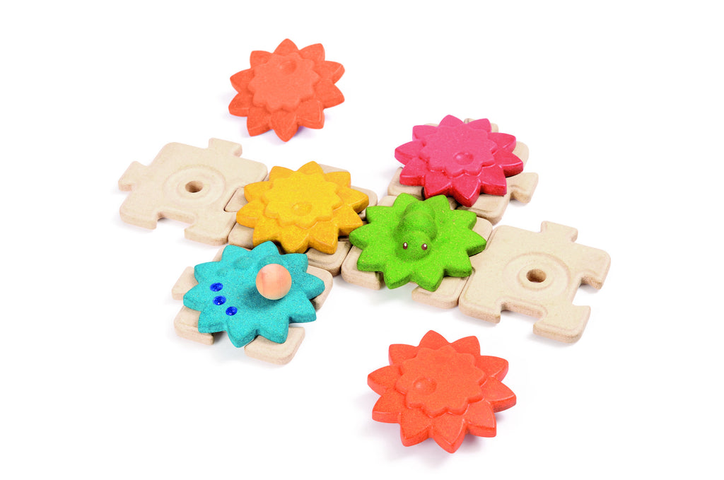 Gears and puzzles Plan Toys eco friendly game Oates & Co