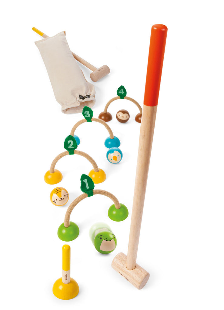 Wooden croquet set with animal design by Plan Toys at Oates & Co.