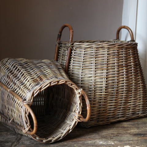 Rattan Square Baskets with Handles by Nkuku