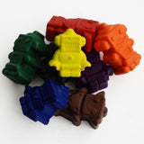 Robot shaped moulded crayons in eight colours with or without drawstring bag on Oates & Co.