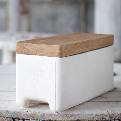 Large white concrete storage box with wooden lid by Serax on Oates & Co.