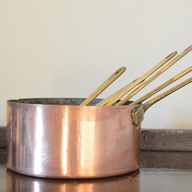 Set of Six Small Vintage French Copper Saucepans