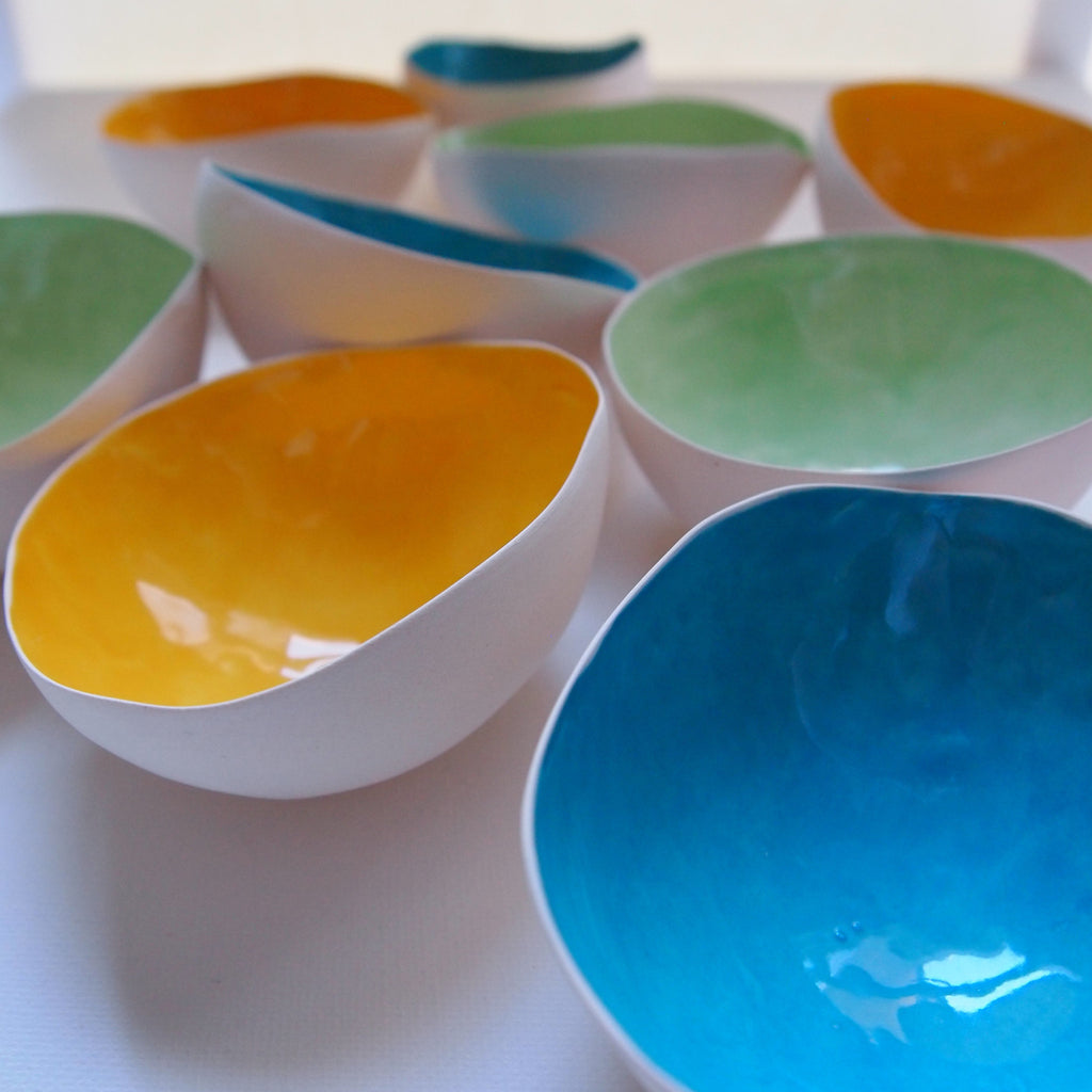 Colourful thin ceramic tea light shell by Sinead O'Moore on Oates & Co.