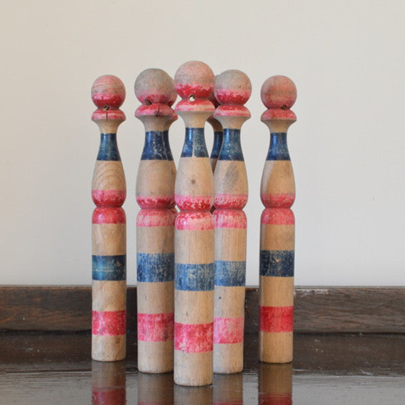 Set of Vintage French Wooden Skittles Red and Blue 1930s on Oates & Co.