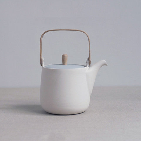 Sue Pryke white and blue parian porcelain teapot from the Mr and Mrs Collection on Oates & Co.