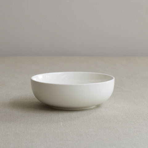 Simple white bone china cereal or soup bowl by Sue Pryke on Oates & Co.