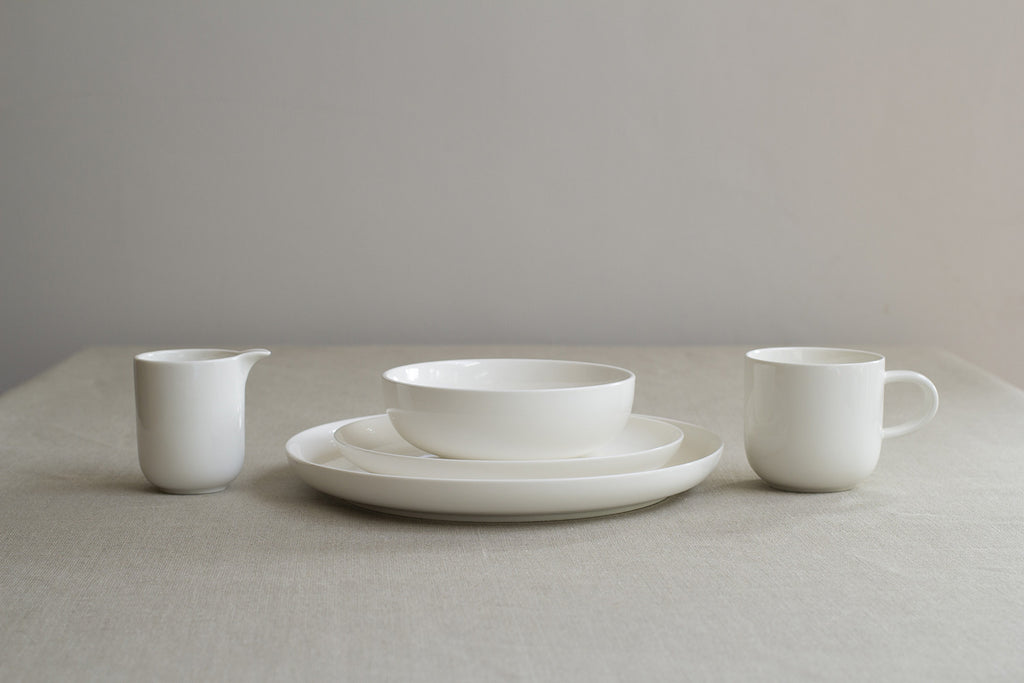 Sue Pryke simple white bone china creamer jug with no handle on Oates ... : white porcelain dinner plates - pezcame.com