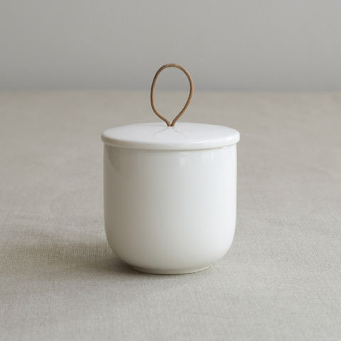 Simple white everyday bone china lidded jar by Sue Pryke on Oates & Co.