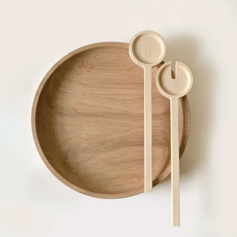 Oak Salad Bowl and Salad Server Bundle by Tanti