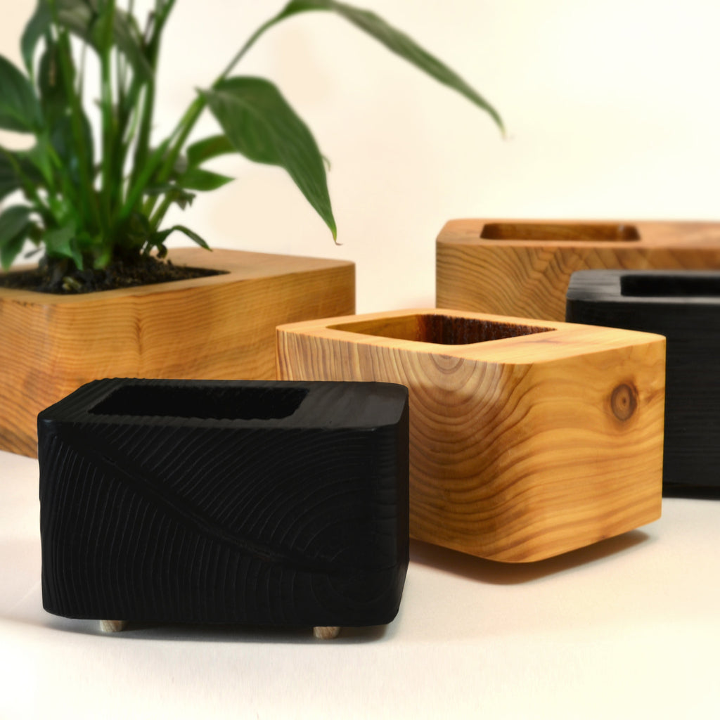 Square cedar wood box style planter handmade in britain by tanti design on oates co