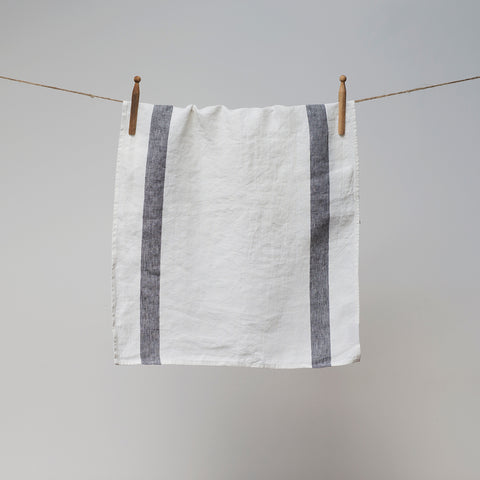 Grey Stripe Arles Linen Tea Towel