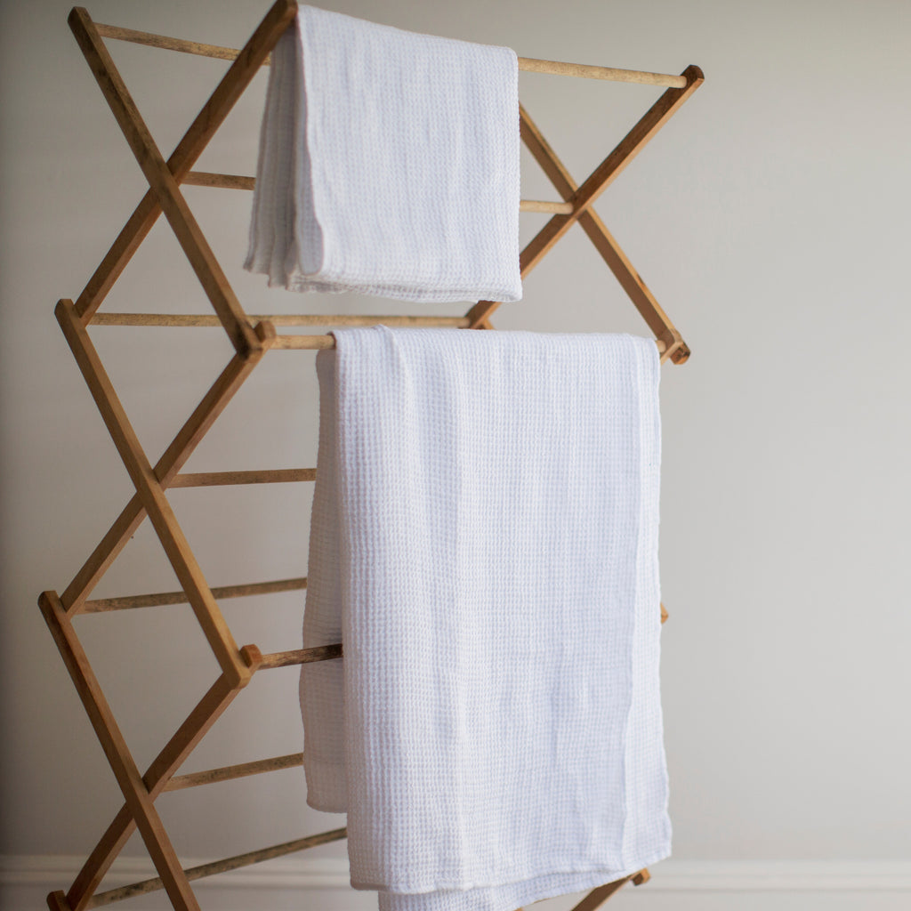 Large white linen waffle bath towel by The Linen Works on Oates & Co.