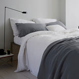 The Linen Works Charcoal Grey Housewife Pillowcase on Oates & Co.