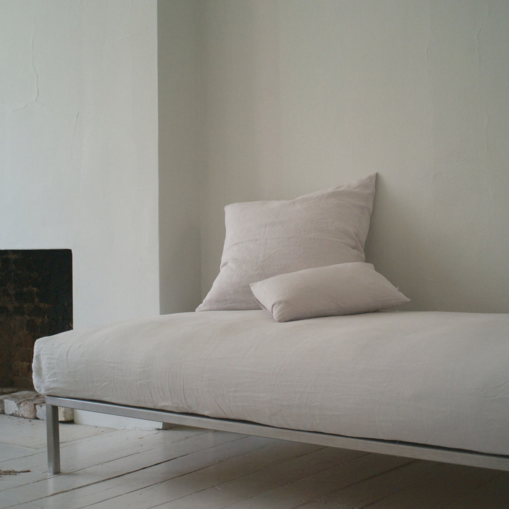 The Linen Works 100% Pre-Washed Linen Classic White King Size Fitted Sheet on Oates & Co.