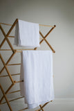 White linen large hand towel with waffle texture by The Linen Works on Oates & Co.