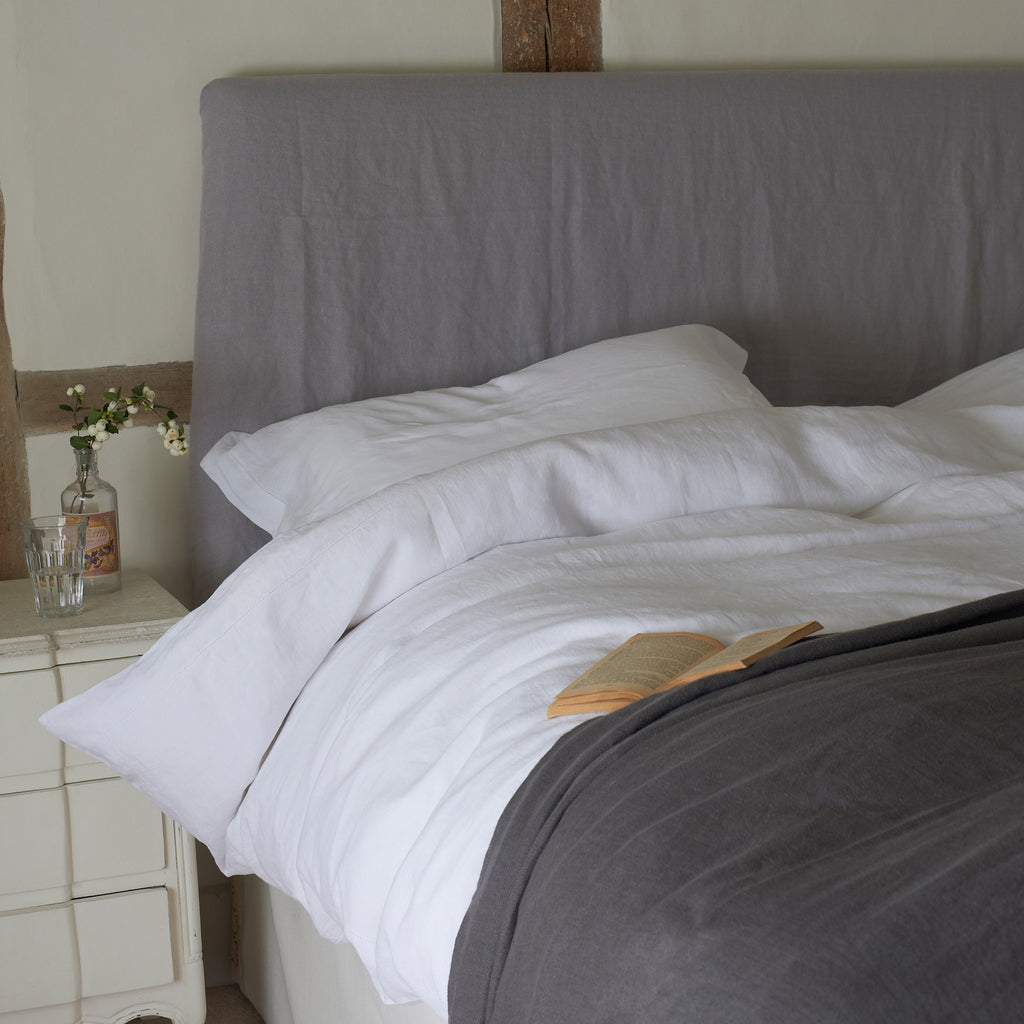 Classic White 100% Linen King Size Duvet Cover by The Linen Works on Oates & Co.