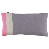 Soft woolen oblong cushion in lilac, grey and pink stripes by Twig on Oates & Co.