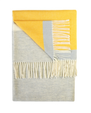 Pure wool blanket throw in a yellow and grey stripe sulphur design by Twig on Oates & Co.