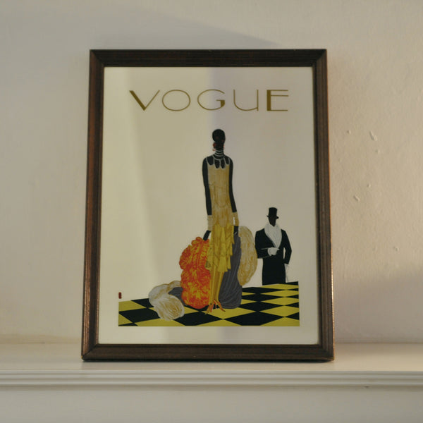 Old French Vogue Magazine Framed Mirror Printed With