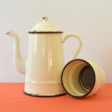 Vintage French Enamel Cream Cafetiere Coffee Pot on Oates & Co.