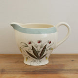 Vintage Alfred Meakin pretty ceramic milk jug decorated with plants and flowers on Oates & Co.