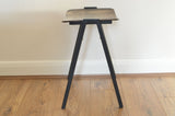 Vintage Wood Stool with Black Metal legs on Oates & Co.