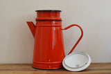 Authentic vintage red enamel coffee pot from France with separate lid and filter on Oates & Co.