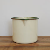 Enamel one litre measuring jug in cream and green on Oates & Co.