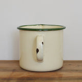 Vintage French enamel one litre cream and green measuring jug on Oates & Co.