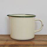 Cream and green vintage French enamel one litre measuring jug on Oates & Co.