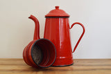 Red enamel vintage coffee pot from France with lid and filter on Oates & Co.