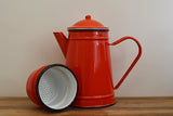 Red enamel vintage french coffee pot with separate filter on Oates & Co.
