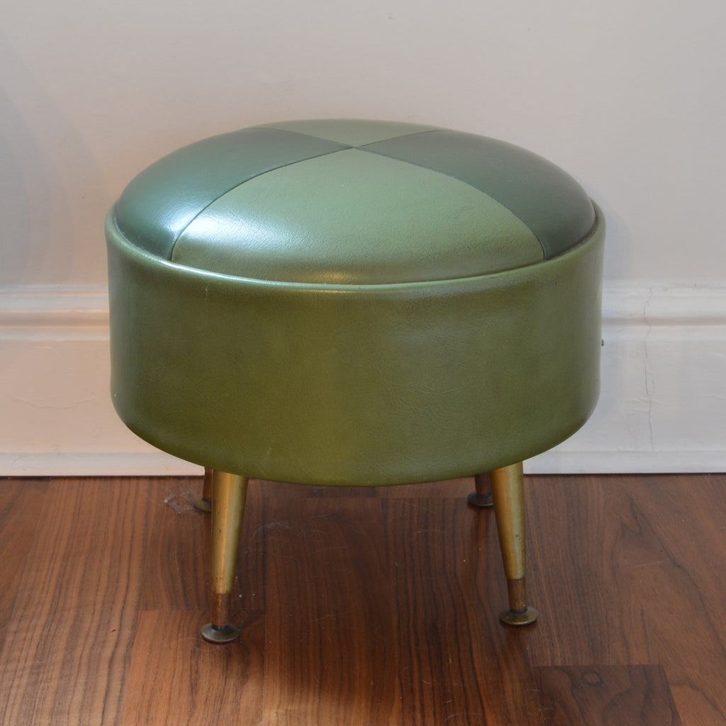 Vintage green leather footstool in checked pattern with dansette legs on Oates & Co.