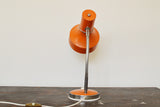 Vintage orange metal task or desk lamp sourced in France on Oates & Co.