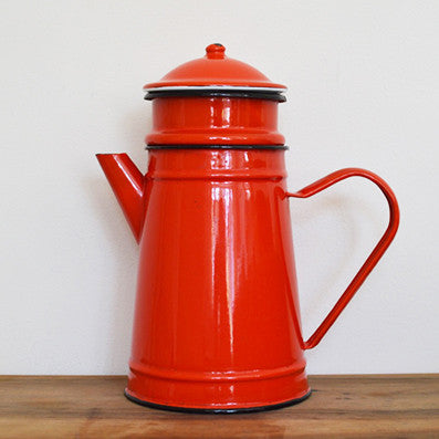 Vintage french enamel bright red coffee pot with filter on Oates & Co.