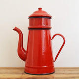 Vintage cherry red enamel French coffee pot with separate filter on Oates & Co.