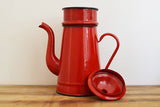 Cherry red French vintage enamel coffee pot on Oates & Co.
