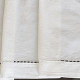 Vintage French White Linen Metis Sheet with Drawn Work Hem on Oates & Co.