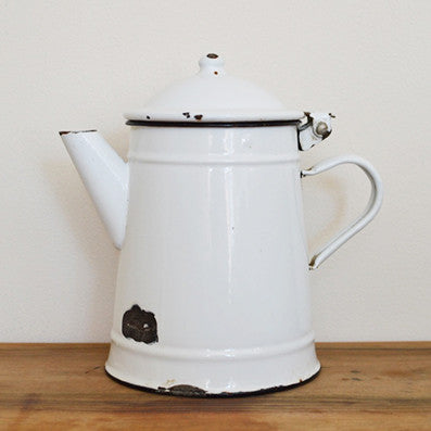 Vintage small white enamel coffee pot from France on Oates & Co.