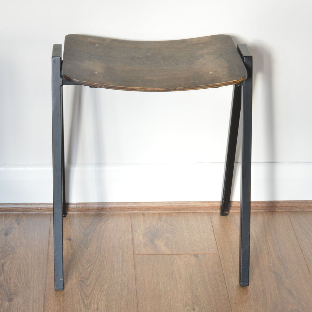 Vintage Wood and Metal Stool on Oates & Co.