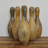 Set of six vintage wooden skittles on Oates & Co.