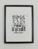Black and White Walt Disney Typographical Print Hand Designed by Upper Hand Lettering on Oates & Co.