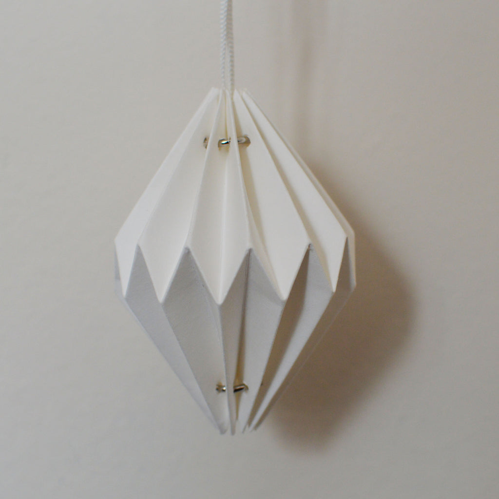 white paper diamond origami christmas tree decorations on Oates & Co.